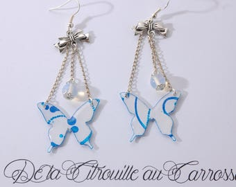 Butterfly, white and blue bow and Pearl Earrings