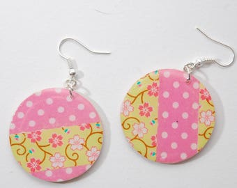 Earrings, hoops, pink polka dots, green, cherry blossoms