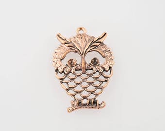 Great charm or pendant OWL copper color