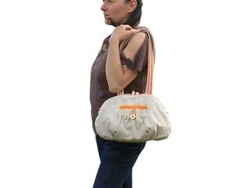 Orange flower bag * linen *-Romantic fantasy