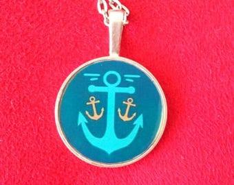 Necklace resin anchor nautical sailor vintage rockabilly Goth lolita
