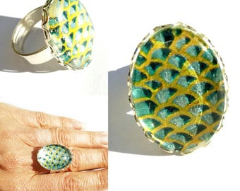 """""""Coney Island"""" Silver cabochon hand-made """"scales"""" lovely iridescent ring..."""