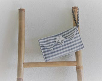 Gray striped party clutch bag