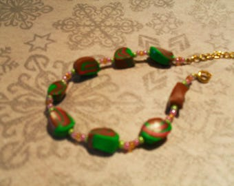 trendy, colorful, original Bracelet (pink, green and Brown)