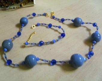 set (necklace and bracelet) original, colorful, (blue)