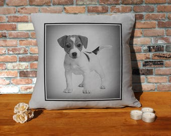Jack Russell Terrier Dog Puppy Pillow Cushion - 16x16in - Grey