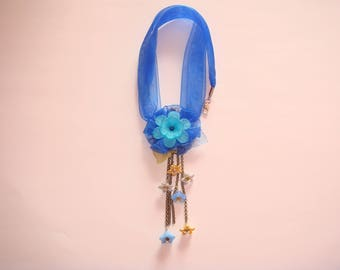 Blue organza fabric Flower necklace