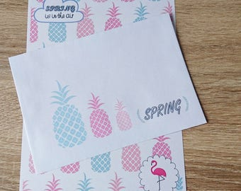 Set of A5 writing paper + envelopes pineapple and Flamingo