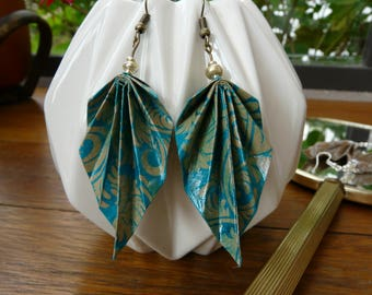 Origami earrings paper turquoise blue and gray