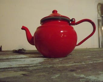 Vintage French Red Enamel Coffee/Teapot,Retro,Kitchen,Decor,Decoration