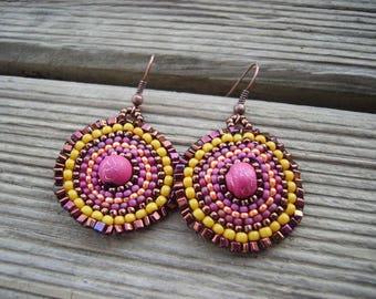 Orange-pink mandala earrings