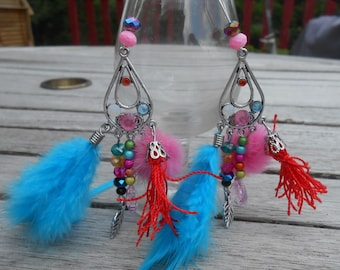 Pearl Earrings, feathers and tassels in the colors of summer