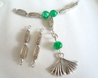 "Great ""gingko leaf pendant"" and crackled glass bead"
