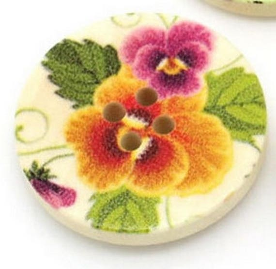 BBR30241 - 2 BUTTONS ROUND 30 MM WOODEN PATTERN WITH COLORS
