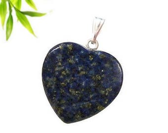 Silver plated heart pendant - lapis lazuli