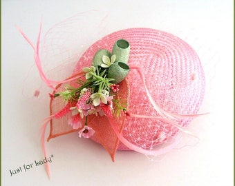 Fascinator - Cocktail Hat - pink Buntal, cocoons of silk and flowers pink/green tones - weddings, ceremonies, Cocktails...