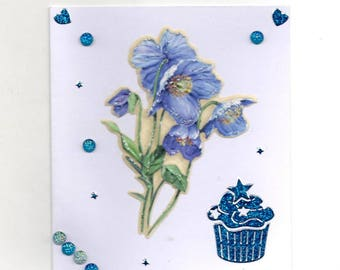 349 - Blue flowers greeting card