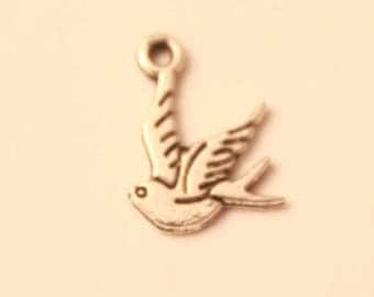 Set of 5 silver plated 14 mm bird charm