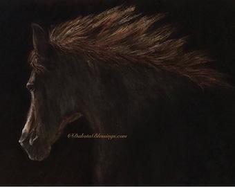 "Original art "" Wild horse"" : oil pastel fine art"