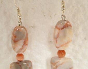 "Earrings ""soft salmon"" stone"