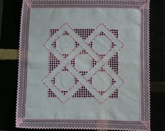 Square doily embroidered in Hardanger rose
