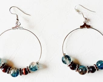 Two tone frosted glass beads hoop earrings