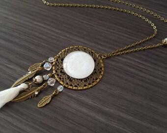 DreamCatcher white tassel necklace