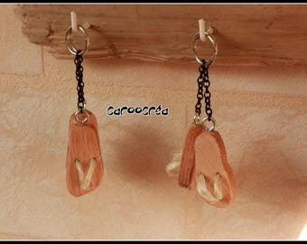 TONG shaped wooden key chains