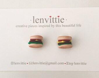 Burger Cravings Polymer Clay Stud Earrings