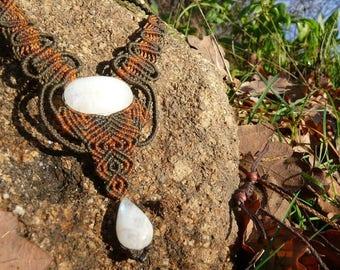 Necklace 2 moonstones macrame