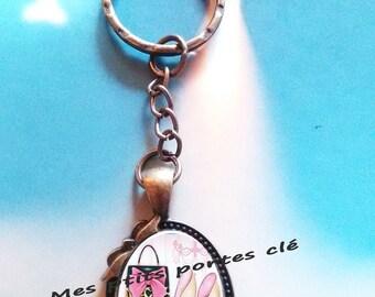 Key ring with cabochon glass 25 x 18 mm Fashion