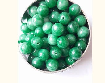 set of 4 Jade 10 mm beads