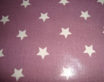 Coupon 75 x 145 cm oilcloth printed star white on purple background