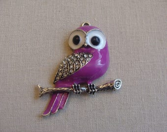 Purple wings rhinestone 4 * 5 cm black eyes OWL pendant