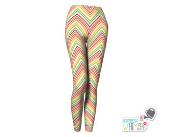 Rainbow Chevron Leggings - womens' leggings with bright zig zag patterns on pale yellow - US ladies' sizes XS, S, M, L, and XL