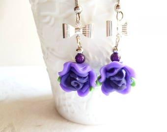 Earrings,' Pink Purple ' elegant
