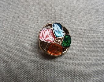 Multicolor round shank button/jewelry
