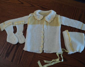 Baby Sweater Set, Sweater, Bonnet, Booties