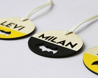 Personalised bag tag - Batman | school bag tag | Kindy bag tag | Daycare bag tag | bag tag custom