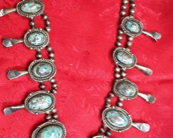 Vintage Bird Egg Turquoise / Silver Necklace pre 1930's