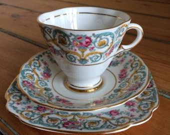 Vintage Windsor bone china tea cup trio