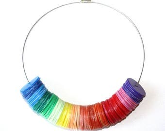 Necklace Rainbow recycled plastic