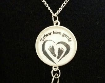 Necklace bola Bell to birth with customizable cabochon twin or single