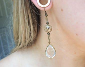 Stone teardrop crystal pendant handmade earrings