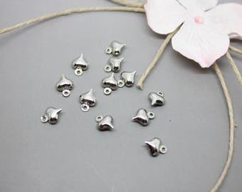 20 charms Charm silver heart 8mm x 6mm - SC21656-