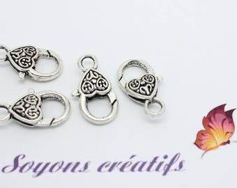 5 Silver 25x12mm antiqued SC03393 clasps-