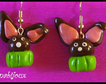 polymer clay earring cup cake chocolate treats Bunny