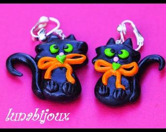 Halloween earrings halloween jewelry Black Cat