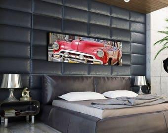Old panoramic photo print car 40 x 100