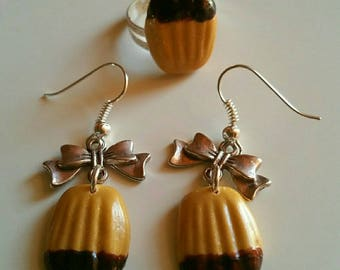 set earrings and ring Magdalen chocolate polymer clay